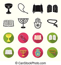 Bible, menorah, hamsa, orthodox cross. Religion set collection icons in black, flet style vector symbol stock illustration web.