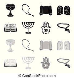 Bible, menorah, hamsa, orthodox cross. Religion set collection icons in black, monochrome style vector symbol stock illustration web.