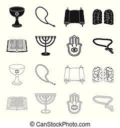 Bible, menorah, hamsa, orthodox cross. Religion set collection icons in black, outline style vector symbol stock illustration web.