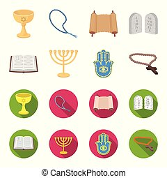 Bible, menorah, hamsa, orthodox cross. Religion set collection icons in cartoon, flat style vector symbol stock illustration web.