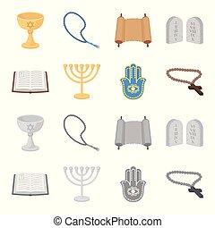Bible, menorah, hamsa, orthodox cross. Religion set collection icons in cartoon, monochrome style vector symbol stock illustration web.