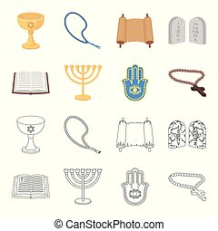 Bible, menorah, hamsa, orthodox cross. Religion set collection icons in cartoon, outline style vector symbol stock illustration web.