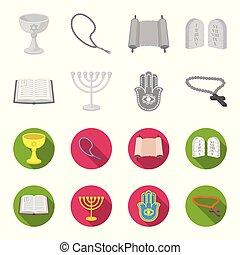Bible, menorah, hamsa, orthodox cross. Religion set collection icons in monochrome, flat style vector symbol stock illustration web.