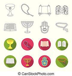 Bible, menorah, hamsa, orthodox cross. Religion set collection icons in outline, flat style vector symbol stock illustration web.