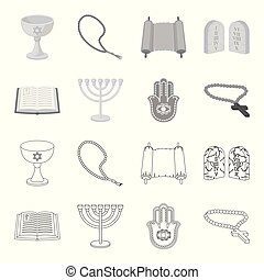 Bible, menorah, hamsa, orthodox cross. Religion set collection icons in outline, monochrome style vector symbol stock illustration web.