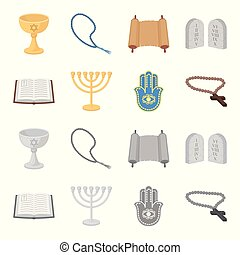 Bible, menorah, hamsa, orthodox cross.Religion set collection icons in cartoon,monochrome style vector symbol stock illustration web.