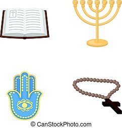 Bible, menorah, hamsa, orthodox cross.Religion set collection icons in cartoon style vector symbol stock illustration web.