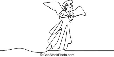 Bible Merry christmas angel woman one line drawing