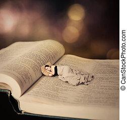 bible., mulher, dormir