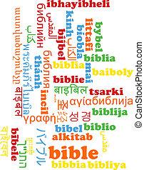 Bible multilanguage wordcloud background concept