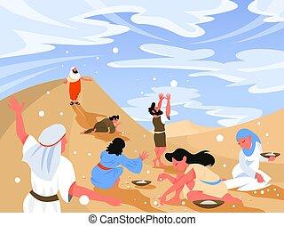 Bible narratives about Manna. Christian bible character. ...