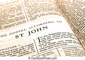 Bible New Testament St. John - Open pages of bible isolated ...