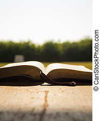 Bible on a Wooden Table in the Sunlight