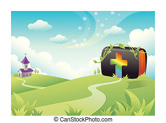Bible on rolling landscape with church and Cross