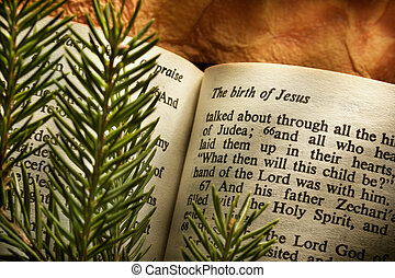 Bible open to Christmas passage - Bible open to Christmass...