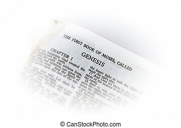holy bible open to the first book of moses called genesis, with white vignette giving the image a clean heavenly feel.