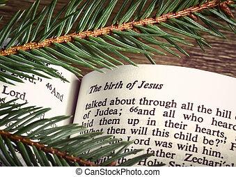 bible, ouvert, noël, passage