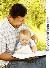 bible, père, jeune, fils, sien, lecture