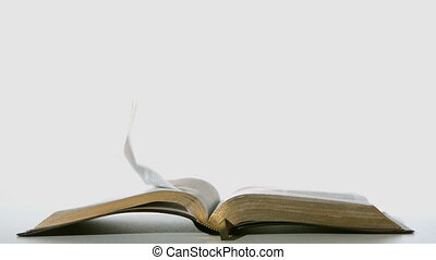 Bible pages turning in the wind on white background in slow...
