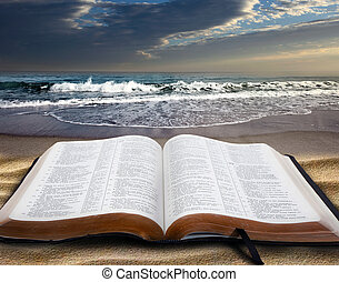 bible, plage