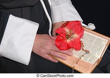 bible, religieuse, mains