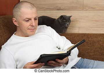 bible, séance, sofa, livre, lecture, homme