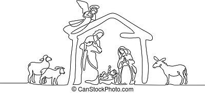Bible scene of holy family. Vector illustration