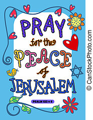 Bible Scripture Art Poster - Pray for the peace of Jerusalem...