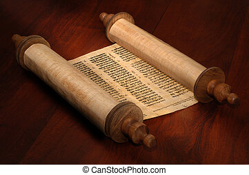 Bible Scrolls - Ancient scrolls of papyrus paper with Hebrew...