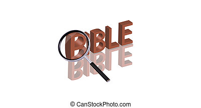 bible search - Magnifying glass enlarging part of red 3D...