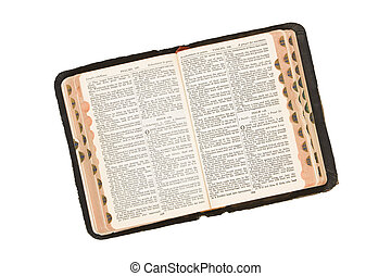 Bible - Antique Bible photographed in the studio on a white...
