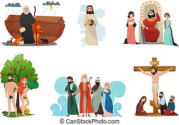 Bible narratives stylized compositions set with noah ark forbidden fruit moses story and crucifixion isolated vector illustration