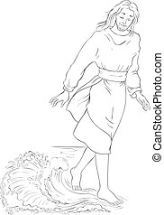 Bible story. Jesus walking on water. Vector cartoon christian coloring page