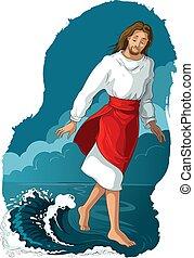 Bible story. Jesus walking on water. Vector cartoon christian illustration