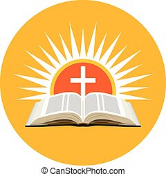 Bible, sunset and cross. Church logo concept.