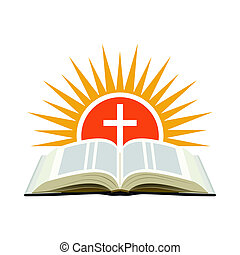 Bible, sunset and cross. Church logo concept. Isolated on white background.