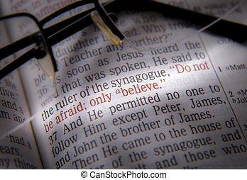 Bible text and glasses