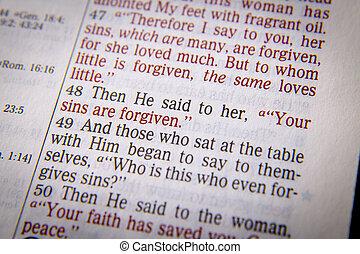 bible, texte, -, péchés, forgiven, ton