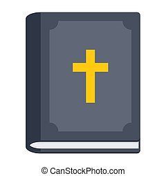 Bible Vector Icon - Religious studies concept with bible, ...