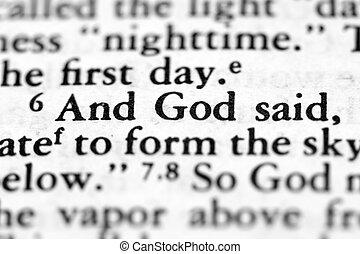 Bible verse - Closeup of bible verse from Genesis with ...