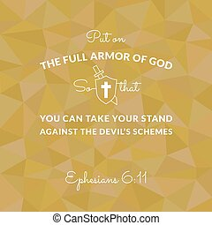Bible verse from Ephesians on polygon background put on the...