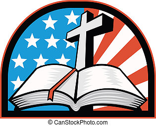 Bible With Cross American Stars Stripes - Illustration of...