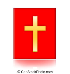 Bible with golden cross isolated over white background