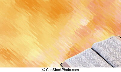 Bible with Motion Background - Bible opened to scripture,...