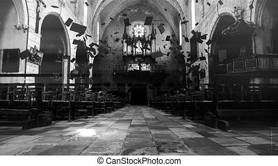 Bibles float in a haunted church. Black & white grade.