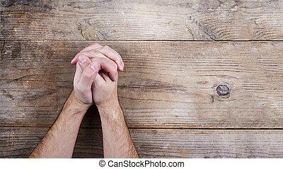 biblia, és, praying kezezés