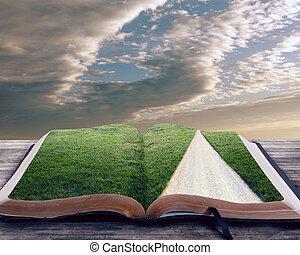 biblia abierta, con, camino