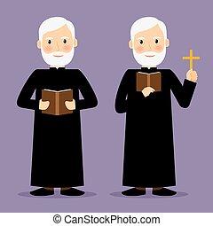 biblia, betű, lelkipásztor, kereszt