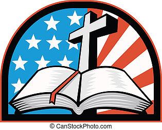 biblia, con, cruz, norteamericano, rayas estrellas