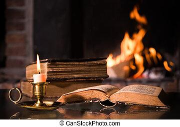 biblia, con, un, abrasador, vela